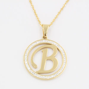 I. P. Gold Plating Letter Pendant with Clear Stones Gift Necklace Jewelry pictures & photos