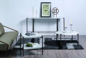 Nature Marble Coffee Table Sets with Stainless Steel Frame Base pictures & photos
