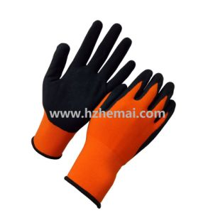 High Visible Orange Nylon with Sandy Nitrile Coated Work Glove pictures & photos