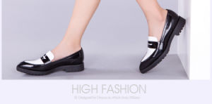 Fashion Lady Casual Patchwork Leather Women Pointed Toe Flat Shoes pictures & photos