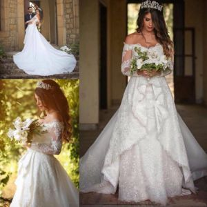 A-Line off Shoulder Bridal Gowns Tulle Lace Wedding Dress Wd92 pictures & photos