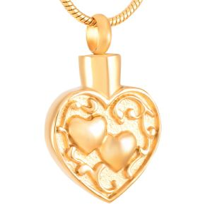 Double Heart Stainless Steel Cremation Pendant Necklace Hold Ashes Keepsake Memorial Urn Jewelry pictures & photos