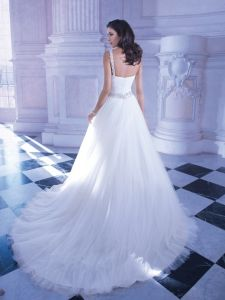 One Shoulder Bridal Formal Gowns Stock Tulle Wedding Dress T190 pictures & photos