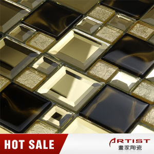 Golden and Black Mirror Crystal Glass Mosaic Tile Beveled pictures & photos