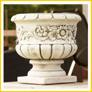 White Marble Granite Stone Antique Garden Pot pictures & photos