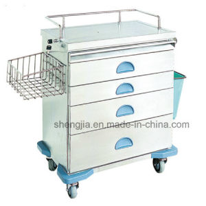 Sjt091 Luxurious Stainless Steel Anesthesia Cart