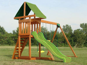 Kids Outdoor Wooden Playground Children Swing and Slide Set (07) pictures & photos