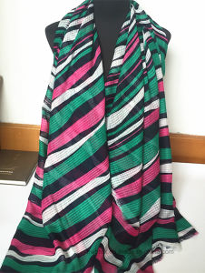 Irregular Transverse Stripe Scarf of Jacquard Polyester Quality (HW28) pictures & photos