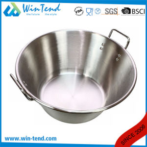Stainless Steel Restaurant Kitchen Sanded Inclined Chef Dish with Two Riveted Handle pictures & photos