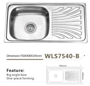 Stainless Steel Sink Single Bowl Wls7540-B One Piece Forming Africa and Southeast Asia Model