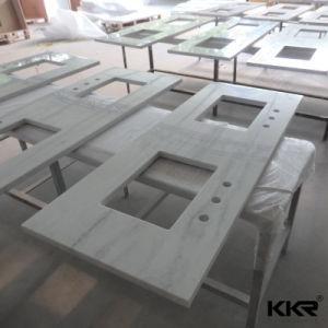 One Piece White Quartz Stone Kitchen Countertop pictures & photos