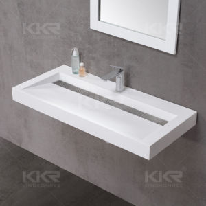 Acrylic Solid Surface Washroom Wall Hung Hand Wash Basin pictures & photos