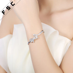 Fashion Jewelry Double Butterfly Pretty Bangle Bracelet Made with CZ pictures & photos