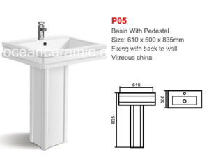 Ceramic Rectangular Basin with Pedestal (No. P05) 24 Inches pictures & photos