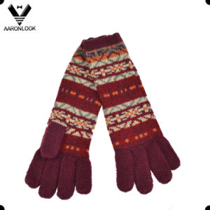 Women Fashion Custom Jacquard Knit Winter Long Glove pictures & photos