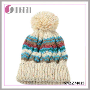Unisex Colorful Yarn Knitting Cap Curling Ball Wool Hat (SNZZM015) pictures & photos