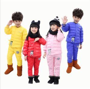 S1132 Children′s Winter Down Coat +Pants 2PCS Kids Suit pictures & photos