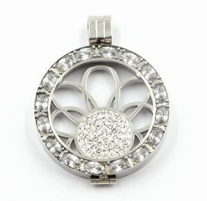 latest Design 316L Stainless Steel Locket Pendant with Big Oval Stones pictures & photos