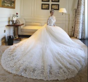Lace Bridal Ball Gowns 3/4 Long Sleeves Stock Wedding Dresses Z2009 pictures & photos