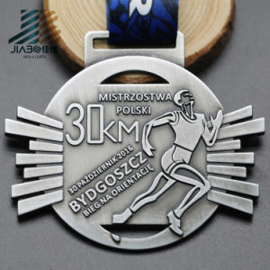 2017 New Design Custom 30km Running Metal Trophy Medals with Ribbon pictures & photos