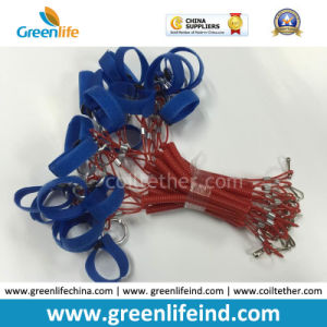Safety Product Plastic Spiral Red Chain W/Blue Magic Tape Loop