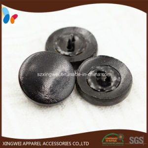 Soft Black Leather Shank Button Leather Covered Buttons pictures & photos