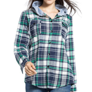 2017 Spring Fashion Ladies Tops Plaid Cotton Casual Blouse pictures & photos