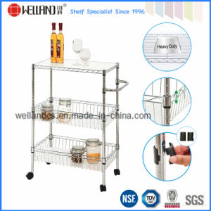Chrome Metal Home Kitchen Basket Rack Trolley with PP Mat pictures & photos