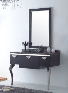 Black Silver on Floor Modern Mirrored Stainless Steel Bathroom Cabinet (JN-88813)