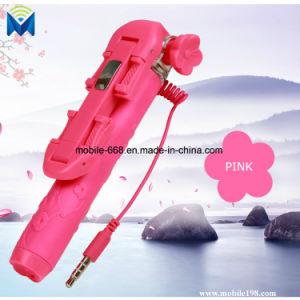 Flower Style Mini 12cm Handy Wired Remote Selfie Stick Pen Size Monpod Selfie Stick Telescopic Phone Holder