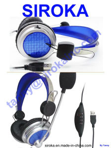 USB Jack Studio Headphone with Microphone for Employees pictures & photos
