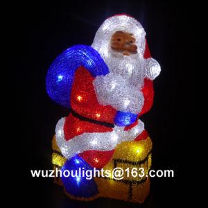 37cm High Acrylic Christmas Santa with 48 LEDs