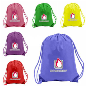 Custom Printed Polyester Waterproof Backpack Drawstring Bag pictures & photos