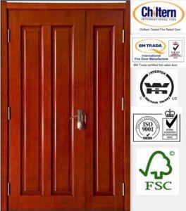 Solid Door/Solid Wooden Door /Natural Wood with 4 Panel Design pictures & photos