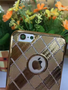 Square Lattice Electroplate Soft Gold Armor Mobile Phone Case with TPU (XSDD-017) pictures & photos