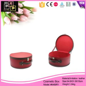 Desktop PU Leather Red Round Cosmetic Store Box (6489R1) pictures & photos
