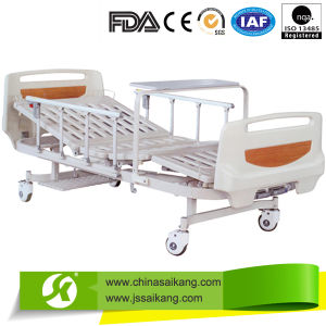 Remote Control Manual Hospital Bed Double Crank with Turning Table pictures & photos