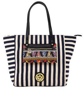 Fashion Stripe Designer Colorful Pocket Women′s Canvas Handbag (pH1829) pictures & photos