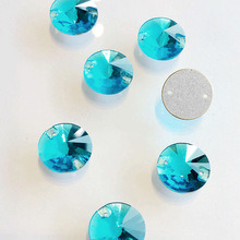 Flat Back Rivoli Loose Rhinestones for Sewing Aquamarine pictures & photos