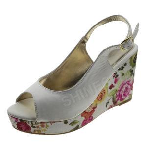 Ladies PU Upper Print Fabric High Heel Sandal