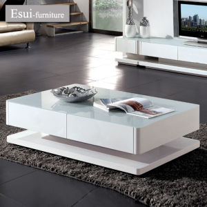 china white color tempered glass plus mdf coffee table set - china