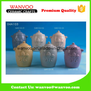 Ceramic Relief Spice Candy Cookie Jar for Kitchen Decoration pictures & photos