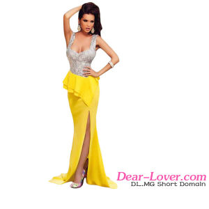 Fashion Silver Bust Yellow Skirt Party Prom Evening Dress pictures & photos