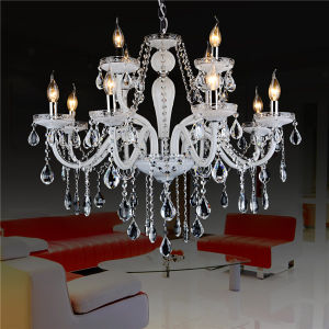 White 8+4 Light Candle Style Crystal Chandelier