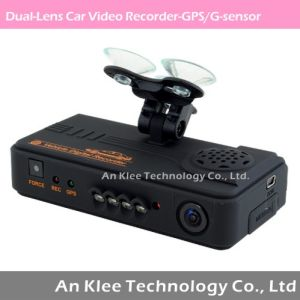 720p Dual-Lens Car Video Recorder with GPS G-Sensor