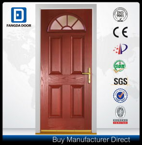 Double 2 Panel Small Oval Glass Fiberglass Insulated Exterior Entry Front Door pictures & photos