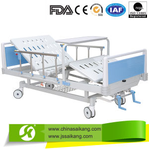 Luxury Manual Hospital Double Bed with Alumnium Alloy Side Rails pictures & photos