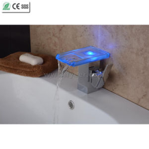 2015 New Self-Power Bathroom Waterfall LED Basin Faucet (QH08186FP) pictures & photos