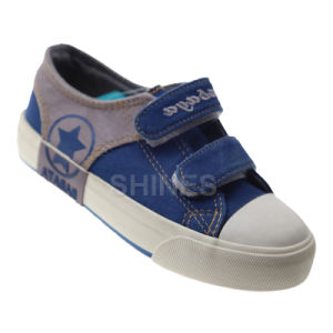 Navy Canvas Vulcanized Shoes with Toe Cap for Boy