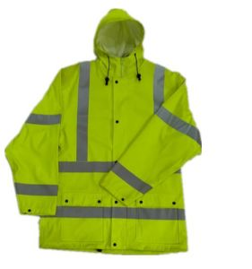 PU Coated Hooded Yellow Reflective PU Raincoat/Safety Clothing pictures & photos